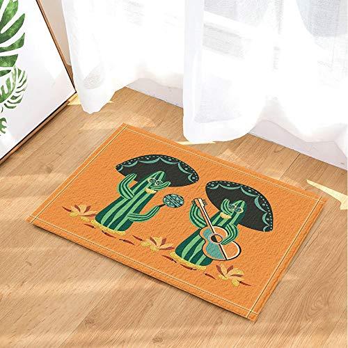 BuEnn Desert Mexican Naturpflanze Dekor Kaktus Mariachi mit Gitarre und Maracas Badteppiche Rutschfeste Fußmatte Bodeneingänge Indoor Haustürmatte Kinder Badematte 15.7x23.6in Bad-Accessoires