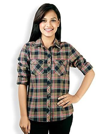 VAAK Women's Full sleeve Check shirt 100% Cotton Grey (XXXL)