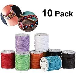 10rollos de hilo de algodón encerado, 1mm para Macramé