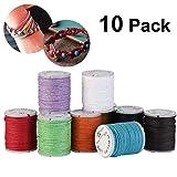 WINOMO Gewachste Baumwolle Cords Saiten Seile für DIY Halskette Armband Handwerk, 10 stücke 10 Mt 1 MM (Mischfarbe)