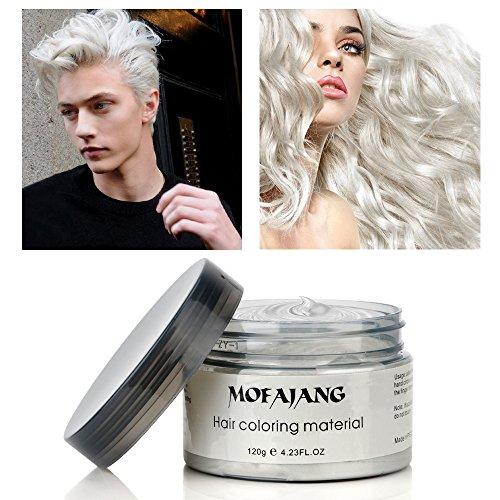(120g Farbiges Haarwachs, MOFAJANG Haarfarbe Wachs Haarcreme Styling-Haarwachs Männer und Frauen Haar Pomaden, Feuchtigkeitsspendende Modellierung Fluffy Matte Haar Schlamm Creme- Weiß)