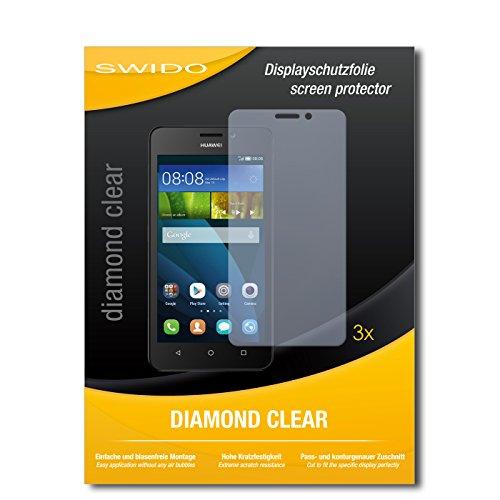 SWIDO 3 x Schutzfolie Huawei Y635 Displayschutz Folie DiamondClear unsichtbar