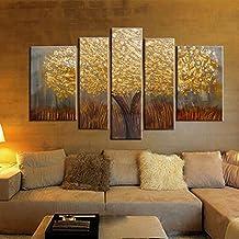 Raybre Art 5pcs/set 100% Pintados a Mano Cuadros en Lienzos al oleo Sin Marco - Cuadro Abstracto Moderno - Paisaje de Hoja Oro Árboles para Arte Pared Decoración Hogar Cocina Dormitorio