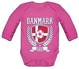 Dänemark Denmark Fußball WM Fanfest Gruppen Strampler Bio Baby Body Bodysuit langarm Jungen Mädchen Pokal Danmark 2018, Größe: 12-18 Monate,Fuchsia