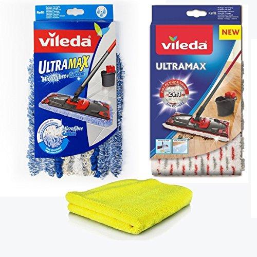 Vileda Ultramax 2 in 1 Panno Ricambio in Microfibra + Vileda Ultramax Ricambio Microfibra e Cotone