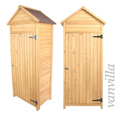 vanvilla Geräteschuppen Holz Satteldach Naturfarben Gerätehaus Gartenschrank