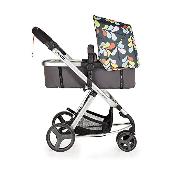Cosatto Giggle Mix pram and Pushchair Nordik with car seat Base & raincover Cosatto Includes: Chassis,Seat unit, Hold Car seat,Isofix base,Car seat adaptors,Raincover, Apron and 4 Year guarantee(UK and Ireland only) Suitable from birth up to 15kg. One unit transforms from newborn pram mode into pushchair mode. Space saving. No need to buy separate carrycot.. Colour packs available so you can change the look to suit your mood, family and adventures. Includes hood, pram apron and padded pushchair apron. 3