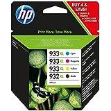 HP 932XL/933XL Multipack Original Druckerpatronen (Schwarz, Blau, Rot, Gelb) mit hoher Reichweite für HP Officejet