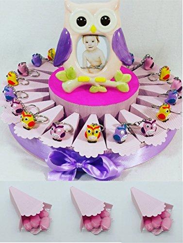 Regali di nascita bambina, gadget per festa di compleanno femmina, portachiavi gufi colorati con confetti cioccolatini rosa - nel prezzo è compresa la struttura a forma di torta con 20 scatoline + 20 gufetti + portafoto + 100 confetti dolcetti rosa
