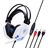 Gaming Headset Für Ps4, Komfort-Rauschunterdrückung 3,5 Mm LED-Kopfhörer Mit Mikrofon Für Xbox One-White Kopfhörer