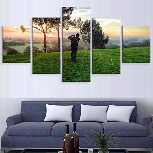 alicefen Leinwand HD Print 5 Stücke Golf Spielen Sonnenaufgang Landschaft Bild Für Moderne Dekorative Schlafzimmer Wohnzimmer Home Wandkunst Dekor-Frame -
