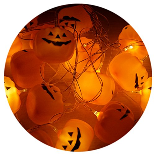 A-szcxtop Happy Halloween Papier Kürbis Laterne Lichterkette mit LED Jack-O-Lantern für Maskerade Party Requisiten 10 Stück Kürbis-Laterne Pumpkin String ()