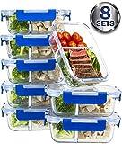 [8Sets Value Pack] Zwei Fach Glas Mahlzeit Prep Container–Glas Frischhaltedosen mit Deckel Mahlzeit Prep–lebenslange Deckel–Lunch Container portioskontrolle Behälter–BPA-frei Container