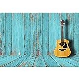 YongFoto 1,5x1m Vinyl Foto Hintergrund Abgezogener Blauer hölzerner Hintergrund Gitarre Holzwand Boden Fotografie Leinwand Hintergrund Partydekoration Fotostudio Hintergründe Fotoshooting