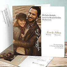 Einladungskarten Hölzerne Hochzeit, Nur Liebe 5 Karten, Quadratische  Klappkarte 145x145 Inkl. Weißer Umschläge