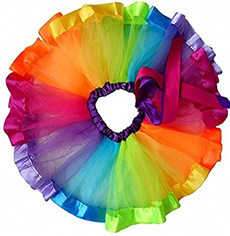 belababy Baby Girls Layered Rainbow Skirt Ruffle Tiered Tulle Tutu Skirt for 0-8T Girls (with leggings)