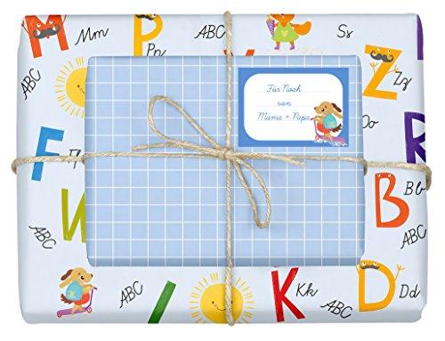 4x Geschenkpapier Einschulung für Jungen/Kinder (doppelseitig, blau) + 4 Aufkleber/Schulheft-Etiketten (Schulanfang, Schule, Schulkind) | (Einzelbögen 42x59cm, DIN A2)