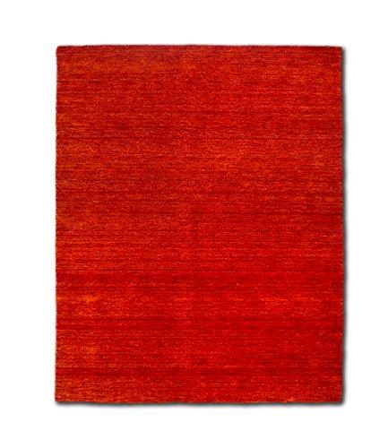 Morgenland Gabbeh Teppich UNI 200 x 140 cm Rost Rot Orange Einfarbig Melierung Modern Orient Teppich Handgearbeitet 100% Schurwolle Wollteppich - Rost Farbe, Teppiche