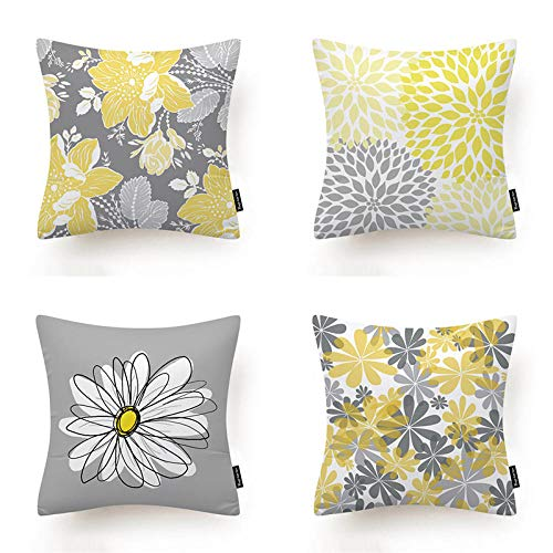 Soft Polyester Square Decorative Throw Pillow Case for Bedroom Sofa Office Invisible ZipperThrow Pillow...