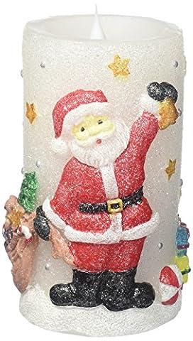 Weihnachten beweglicher Flamme LED Kerze mit Timer, Arbeit mit 2C Batterien, 7,6x 15,2cm, Wachs, Santa-With Moving Flame, 3 x (Dancing Santa Weihnachten)