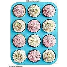 HelpCuisine Moldes de Moldes para muffin / Bandeja para cupcakes de color azul con 12 cavidades, 24 meses de garantía !