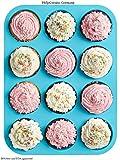 HelpCuisine Teglia muffin/ Stampo antiaderente per 12 muffin/ Teglia per cupcake/dolcetti realizzata in silicone alimentare di alta qualità, antiaderente e privo di BPA, 12 stampini, colore blu, 24 mesi di Garanzia!