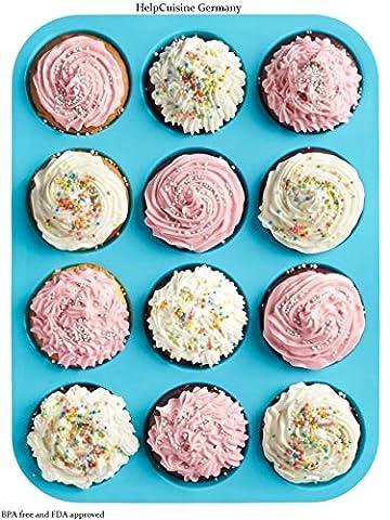 HelpCuisine muffinformen aus Silikon, antihaftbeschichtet, Cupcakes Backform mit 12