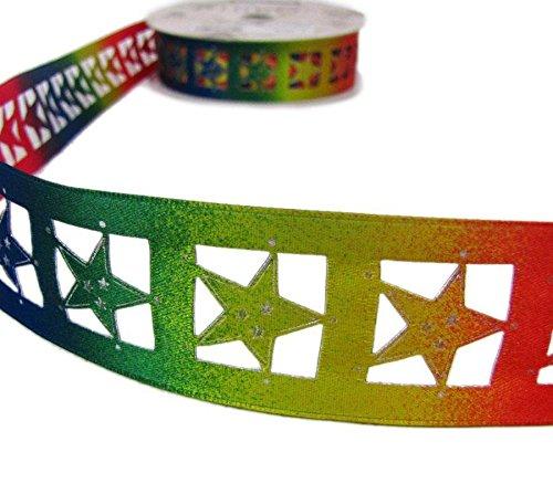 Ribbon Queen Bunte Sterne Rainbow Cut Out Satin Band mit Draht 3,8cm (38mm) Draht Draht eingefasst, 2m, Weihnachten Geburtstag Gay Pride etc.