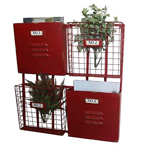 Metall Eisen Zeitschriftenständer  Bücherregal Ablagekorb Vintage Industrial Style ( Farbe : Rot )