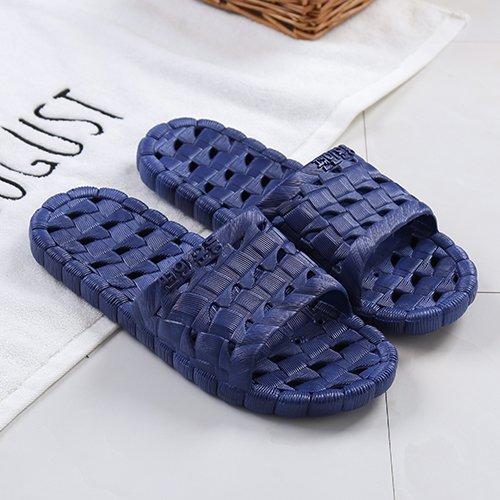fankou Pantofole da bagno casa estiva scarpe antiscivolo fondo morbido bagni a strisce a righe da uomo e ciabatte da donna, 41-42, blu scuro esposti blu scuro
