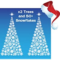 Aurum92 x2 Christmas Tree Window Stickers over 40 Snowflakes included