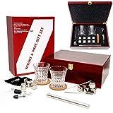 Bicchieri da Whiskey Set da 2, Pietre da Whisky, bastoncino refrigerante per vino rosso, con tappo aeratore, senza diluizione, regalo di compleanno per uomo, per lei, gin o amanti del vino