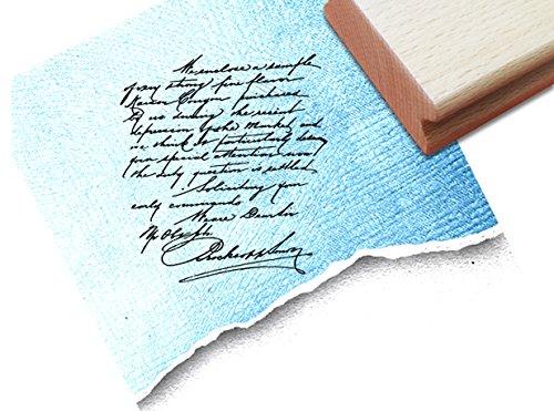 Stempel - Textstempel VINTAGE ÉCRITURE V mit alter Handschrift - Eleganter Schriftstempel für Ihr eigenes Design im Shabby chic style - Typostempel von zAcheR-fineT