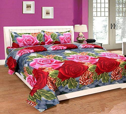 India Fab Jaipuri Style 100% Cotton Rajasthani Tradition 1 Double Bedsheet with 2 Pillow Cover (Queen Size)