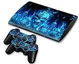 Sony PS3 Playstation 3 Super Slim Skin Design Foils Aufkleber Schutzfolie Set - Blue Skull Motiv