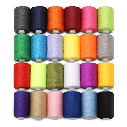 KING DO WAY Naehgarn 24 farben 1000 Yards polyester naehgarne spulen naehmaschine zubehoer Naehmaschinengarn