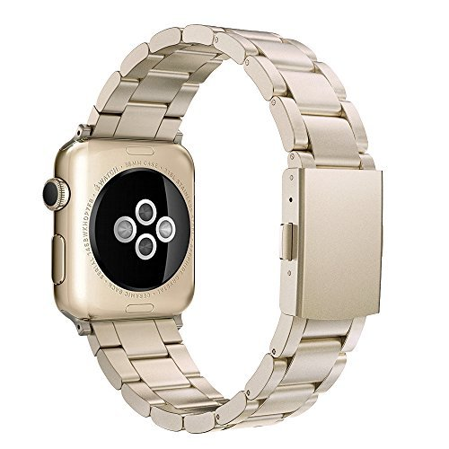 Simpeak Solid Stainless Steel Band Strap for Apple Watch 42mm Series 1 Series 2 Series 3 - Champagne Gold