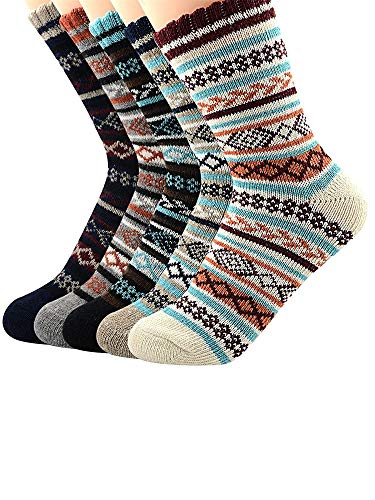 Urban Virgin Damen Socken im Vintage-Stil, dicke Wolle, warm, 5 Stück - - Einheitsgröße -