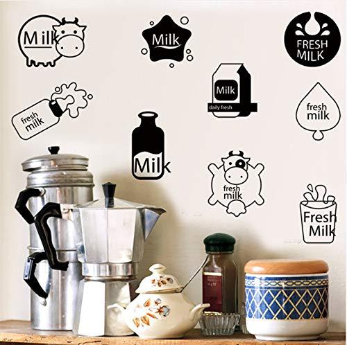 ve Wand Mit Dekorativen Wand Fenster Dekoration Milch Kuh Druck Niedlich Kreative Wandaufkleber Für Kühlschrank Angebracht ()