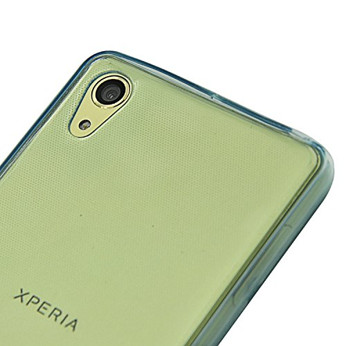 Vandot Sony Xperia M5 Coque de Protection Etui Transparent Antidérapant Pour Sony Xperia M5 Etui Protection Dorsale Étui Slim Invisible Housse Cover Case en TPU Gel Silicone Hull Shell-Blanc Transparent-Blue