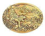 Gurscour Mode Western Antik Bronze Gravierte Blume Tiger G?rtelschnalle