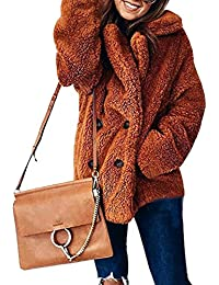 99aba8833e923 CHIYEEE Donna Invernali Lungo Trench Capispalla Elegante Maniche Lunghe  Autunno Cappotto di Peluche con Pulsante S