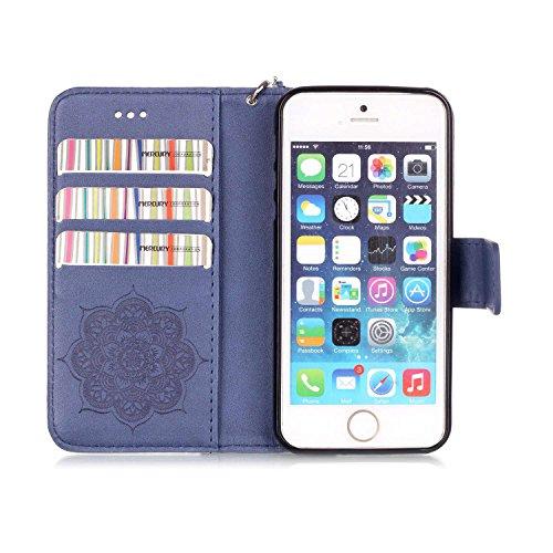 MOONCASE iPhone SE Coque, Motif Dreamcatcher Bookstyle Portefeuille en Cuir Housse de Protection [Béquille] Étui à rabat Case pour Apple iPhone 5 / 5S / iPhone SE Brun saphir