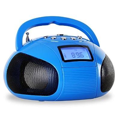 OneConcept Bamboombox - Mini poste radio Bluetooth style boombox avec tuner FM et ports USB et SD pour MP3 (AUX, fonction réveil, batterie Nokia rechargeable) par oneConcept