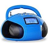 oneConcept Bamboombox - Mini poste radio Bluetooth style boombox avec tuner FM et ports USB et SD pour MP3 (AUX, fonction réveil, batterie Nokia rechargeable) - bleu