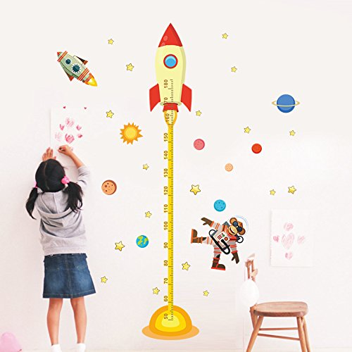Sky Chart (kuamai Sonnensystem Rakete Höhe Messen Chart Wand Aufkleber Für Kinder Zimmer Weltraum Sky Rocket Wand Aufkleber Astronaut Monkey Poster)