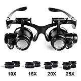 Babimax tragbare Lupe mit LED Brillenlupe austauschbarer Kopfband 10 fach 15 fach 20 fach und 25 fach Vergrößerung aus Kunststoff für Juwelier Reparatur Uhrmacher Antiquitäten Schmuck