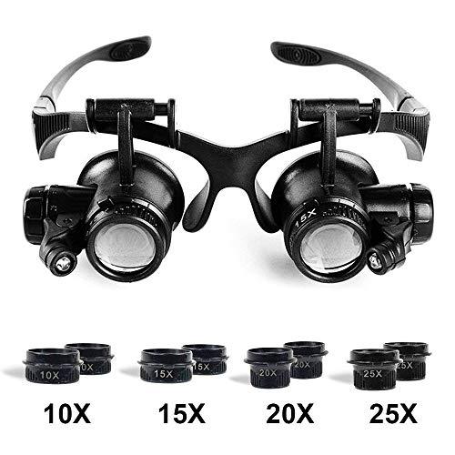 Babimax Lupe mit LED Beleuchtung 10 fach, 15 fach, 20 fach und 25 fach Vergrößerung aus Kunststoff ,austauschbarer Kopfband Reparatur für Uhrmacher