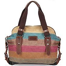 c3c29a99c8ad8 Moceal Multi-Color-Striped Canvas Damen Handtasche Umhängetasche Canvas  Tasche Shopper Hobo Bag