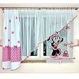 MB GMM-3 Disney Kindergardine für Mädchen/Kinder mit Motiv Minnie Mouse für Kinderzimmer/Mädchenzimmer / Vorhänge Pink